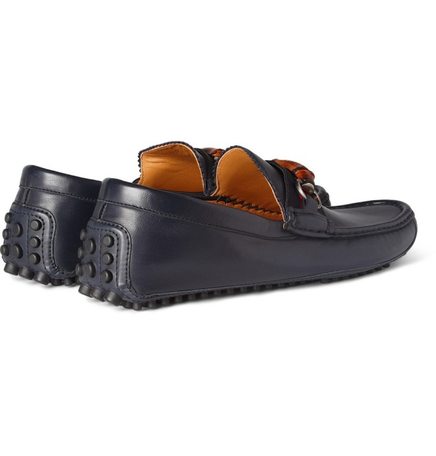 Gucci Bamboo Detail Leather Driving Shoes