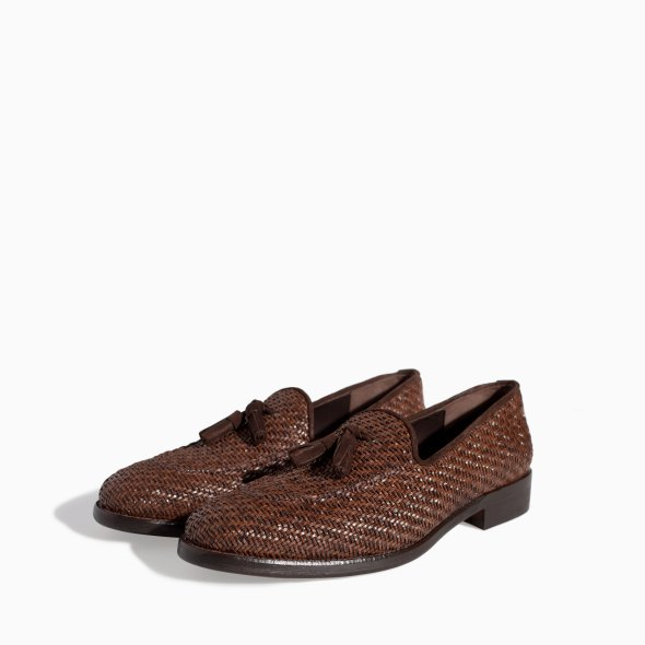Zara Men's Braided Moccasin Shoes