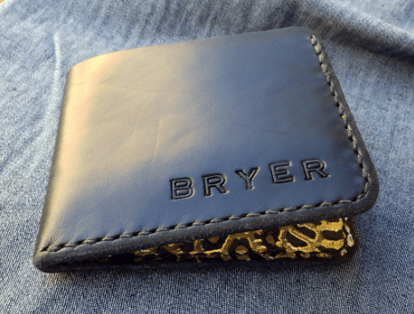 Bryer Leather Bifold Wallet: Limited Black & Gold Edition $60.00