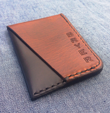 Bryer Minimalist Card Wallet: Brown/Black Chromexcel Leather $40.00