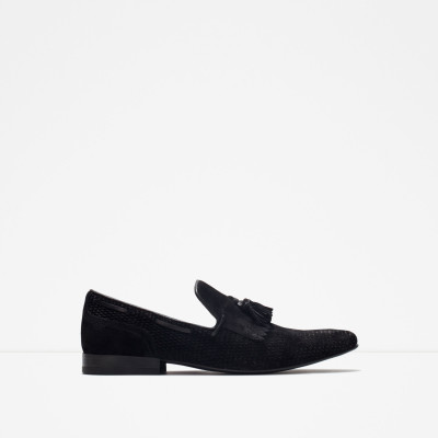 Zara Leather Loafer With Fringe Detail