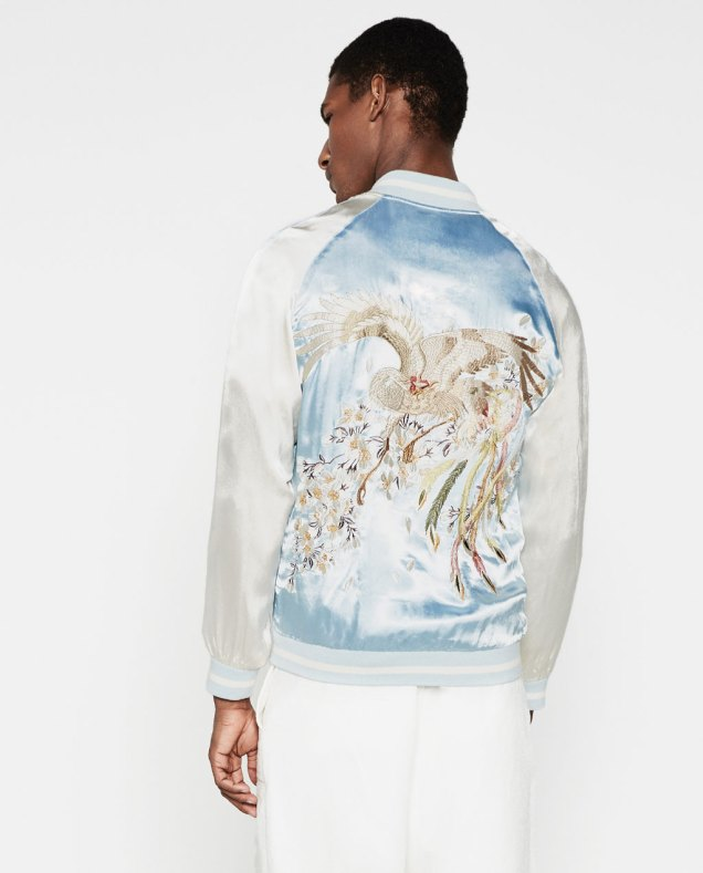 Zara Man Embroidered Sky Blue Jacket