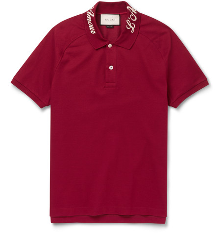 Gucci Men's Blinded By Love Pique Polo Shirt