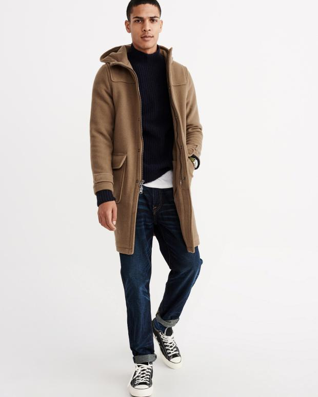 Abercrombie & Fitch Men's Camel Duffle Coat