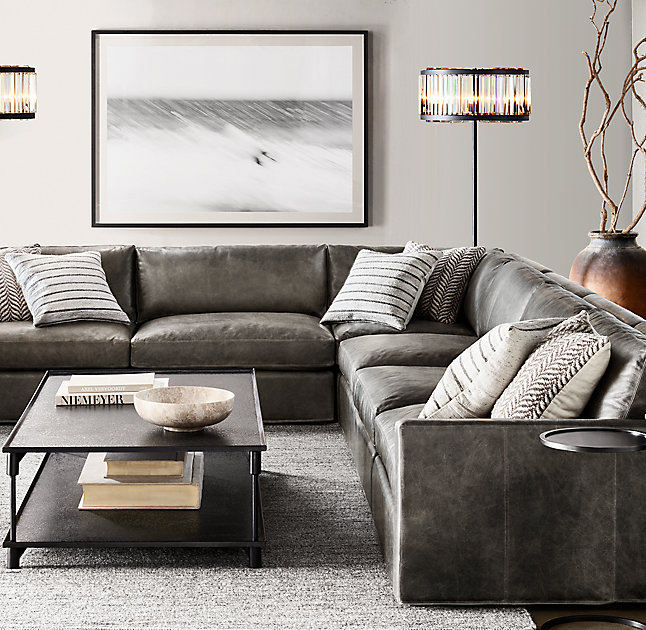 The Restoration Hardware Belgian Track Arm Modular Leather U-Sofa Sectional is simply sublime. : restoration hardware sectional sofa - Sectionals, Sofas & Couches
