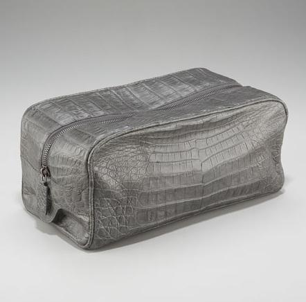 Santiago Gonzalez Zip-Top Crocodile Toiletry Bag Gray