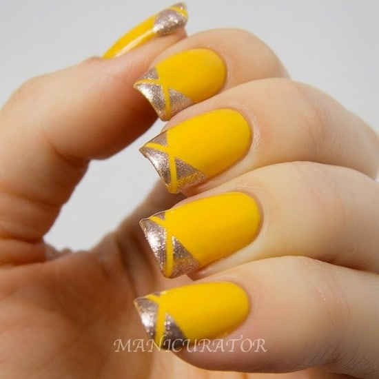 4.Glitter can also be added to these yellow nails, so choose your own design  and enjoy! - Design Your Nails With These Yellow Manicure Ideas And Brighten Your