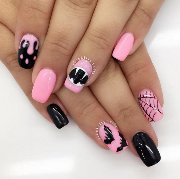 Top 10 diy halloween nail art ideas flawlessend pink halloween nails top 10 diy halloween nail art ideas prinsesfo Image collections
