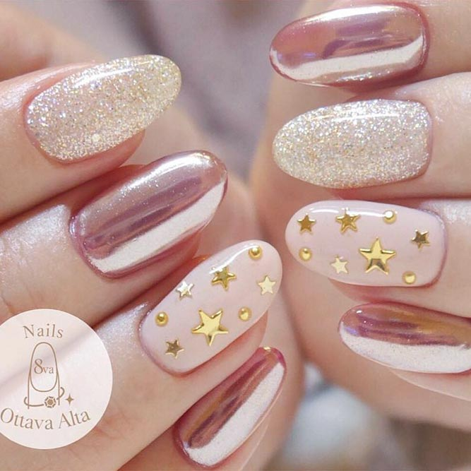 Easy Nail Designs with Star Sequins picture 2 - 20 Star Nails Art Ideas For Your Brilliant Look - FlawlessEnd