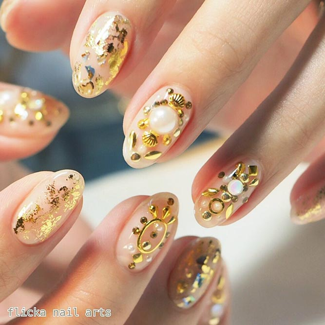 Rhinestones and Studs Nail Art Designs picture 2