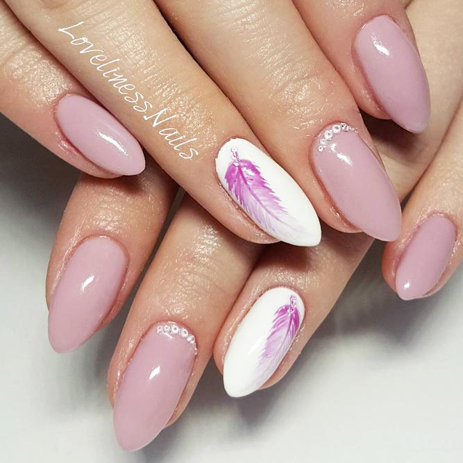 Cute Nail Designs with Sweet Feathers picture 1 - 21 Ideas Of Cute Nail Designs To Melt Your Heart – FlawlessEnd