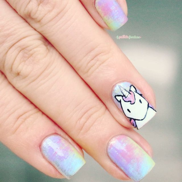 21 ideas of cute nail designs to melt your heart flawlessend magical unicorn manicure for chic girls picture 2 prinsesfo Image collections