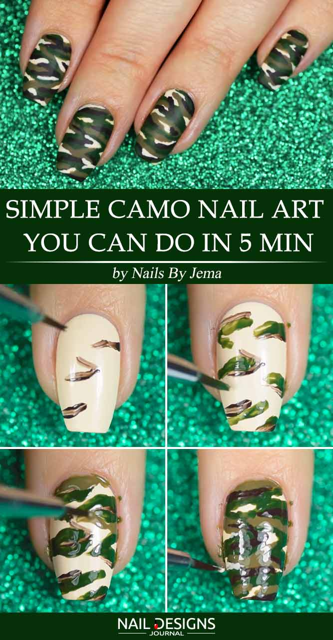 Easy camo nails how to do it in simple steps flawlessend simple camo nail art you can do in 5 min solutioingenieria Images