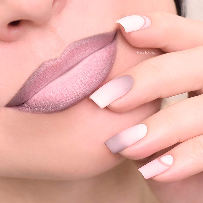 Amazing Matte Pale Lipstick And Matching Nail Polish With Ombre Design
