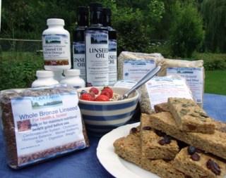 Cold pressed linseed flax oil, ground linseed, linseed porridge, linseed Flaxjacks - healthy flapjacks.