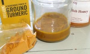 Turmeric paste ingredients for turmeric tea and golden turmeric milk