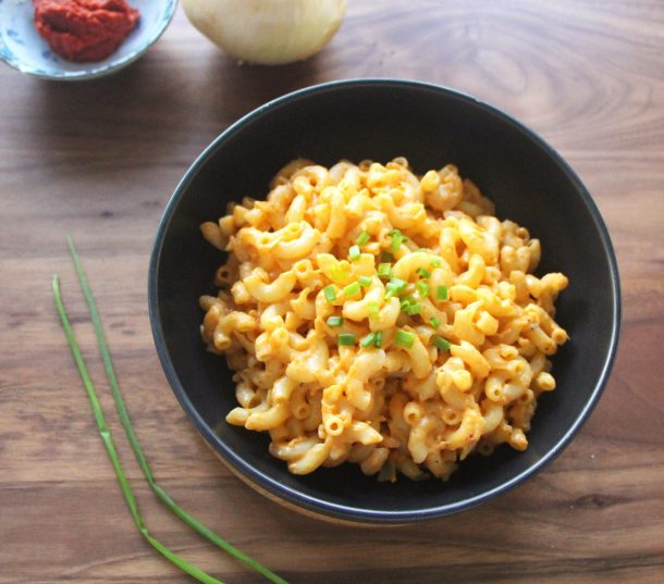 Close up photo of delicious Gluten-Free and Vegan Thai Curry Mac and Cheese