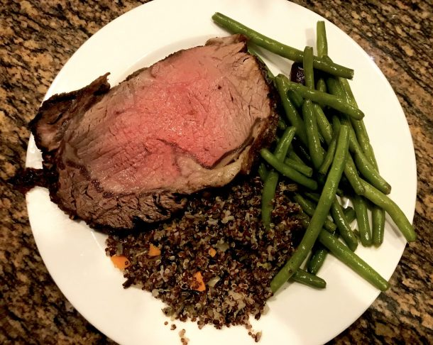 Longwood Gardens Gluten Free dinner- prime rib, rice pilaf, and green beans