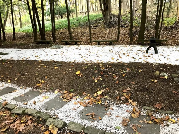 Meditation garden with white trails and rocks is part of a transformative day at Kripalu Center for Yoga and Health