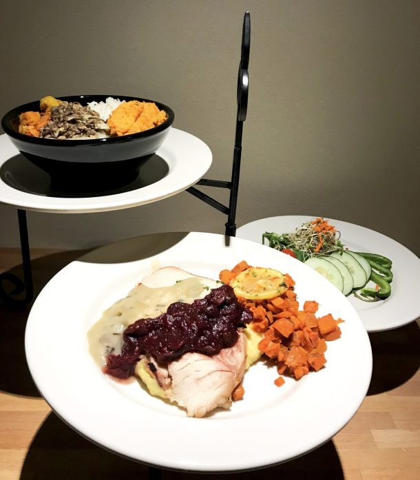 Dinner options, including turkey and salad, offered as part of the Kripalu day pass