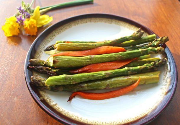 Beautiful balsamic roasted vegetables is a healthy vegetable side dish made with roasted spring vegetables like asparagus and carrots