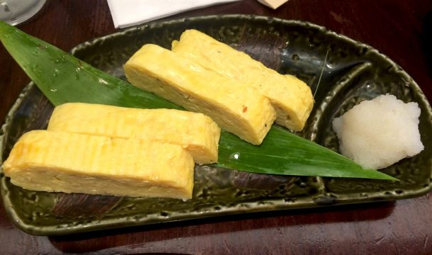 Tamago egg omelet is authentic Hawaiian food in Waikiki
