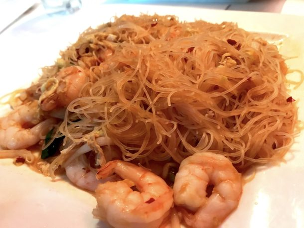 Gluten-free singapore rice noodles at Lilli and Loo is a great gluten-free dinner in NYC