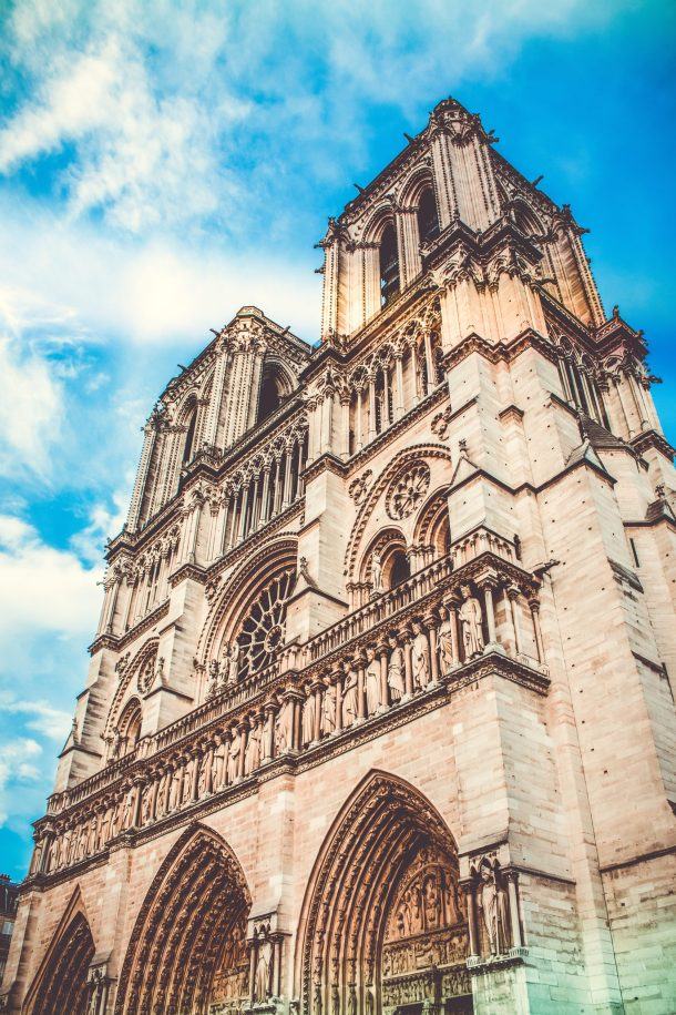 Notre Dame Cathedral low angle in daylight