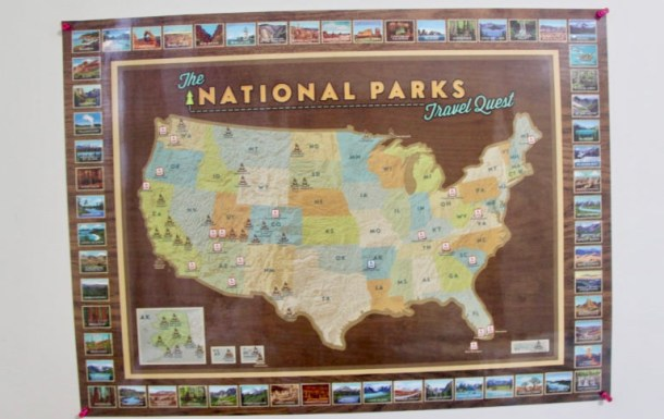 National parks map helps keep track of the U.S. national parks you've visited and plan upcoming family trips