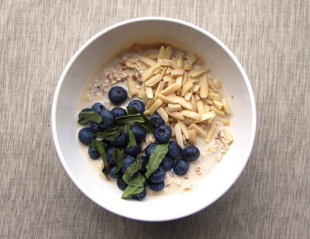 This blueberry oatmeal sits overnight to create a tasty protein overnight oats breakfast. It's vegan with healthy chia seeds and a touch of maple syrup.