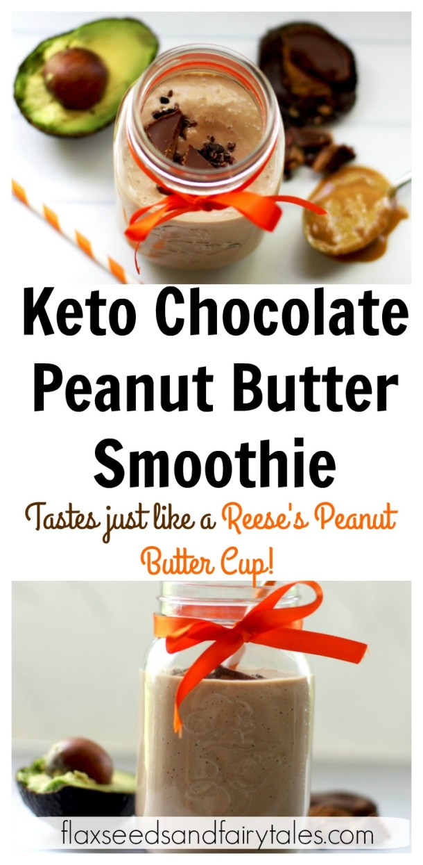 I love this easy Keto Chocolate Peanut Butter Smoothie for breakfast! It's low carb and has peanut butter, almond milk, chocolate, avocado, and spinach. It's the ultimate keto protein shake and great as a low carb meal replacement. #weightlosssmoothie #ketosmoothie #lowcarbsmoothie #ketobreakfast