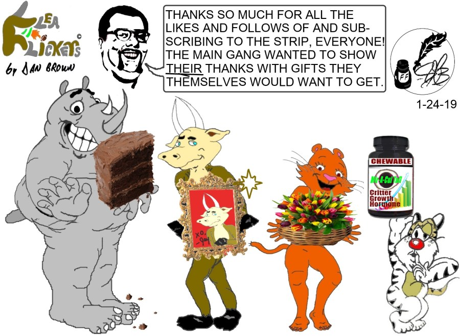 flea flickers -- the gang thanks you with gifts they'd want to receive