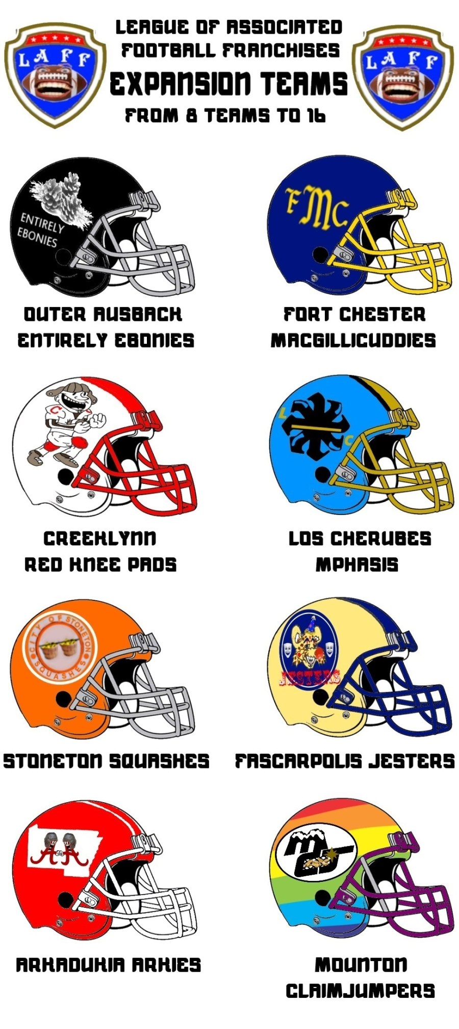 L.A.F.F. expansion teams (league goes from 8 teams to 16)