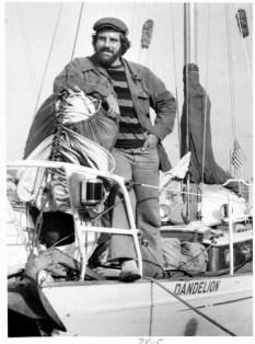 Returning home. Robin Rowe Linker aboard his sloop the Dandelion in 1978.