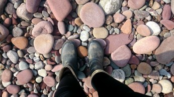 Wellies and pebbles!
