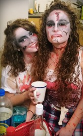 Harriet and Christie as zombies