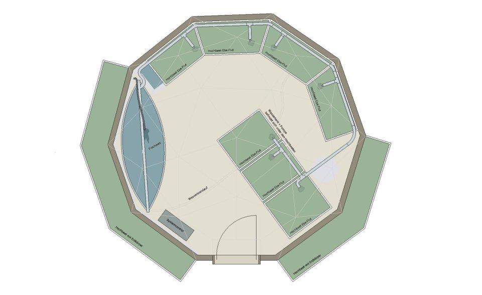 Grundriss vom Aquaponic Geodome in Niederlenz