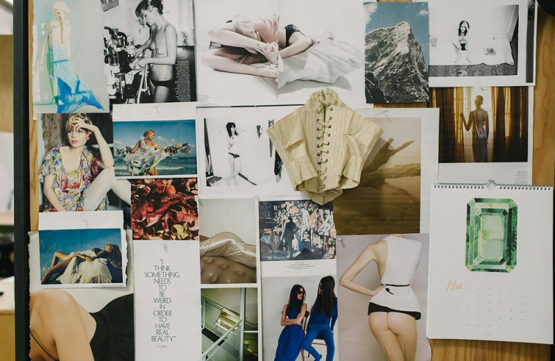 Inspiration board at Fortnight Lingerie