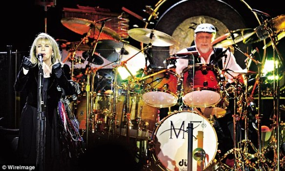 Stevie Nicks and Mick Fleetwood on stage at the O2 this year
