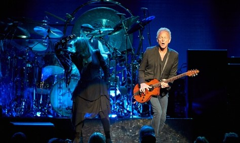 Stevie Nicks and Lindsey Buckingham on stage in Sydney. Photograph: Glenn Pokorny