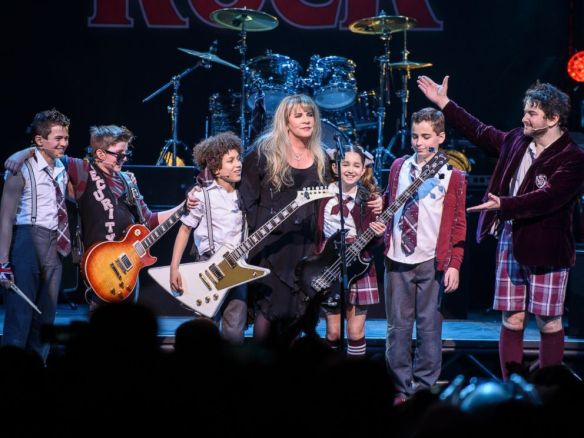 """Matthew Eisman (Getty Images) - Stevie Nicks of the band Fleetwood Mac performs live on stage with the cast of """"School of Rock - The Musical"""" at the Winter Garden Theatre on April 26, 2016 in New York City"""