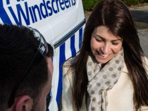 Auto Windscreens customer with technician