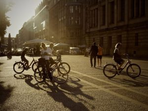 cyclists in street