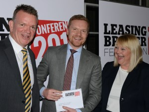 Judge Steve Cocks, director of broking division Lex Autolease (left), celebrates the Broker of the Year Award with Fleet Alliance's Martin Brown, and chair of the judges Jo Elms