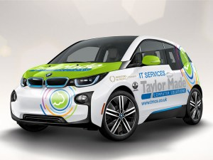 Six BMW i3s will serve in a car pool for 115 employees
