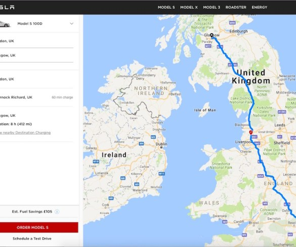 Tesla adds EV trip planning tool online