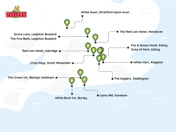 Fuller's map of Pod Point chargepoint installs