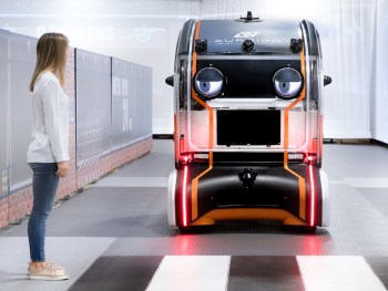 The intelligent pods make 'eye contact' with pedestrians to signal intent