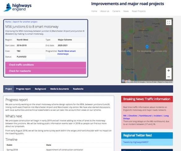 Highways England showcases plans for M56 smart motorway
