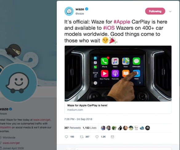 Waze now compatible with Apple CarPlay